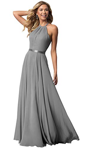 (Women's Halter Long Bridesmaid Dress A-line Floor Length Formal Evening Party Gown (Silver,6))