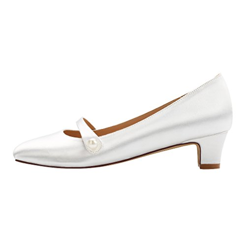 Image of ERIJUNOR Wedding Comfort Low Heel Women Dyeable Satin Lace Shoes for Bride Ivory White