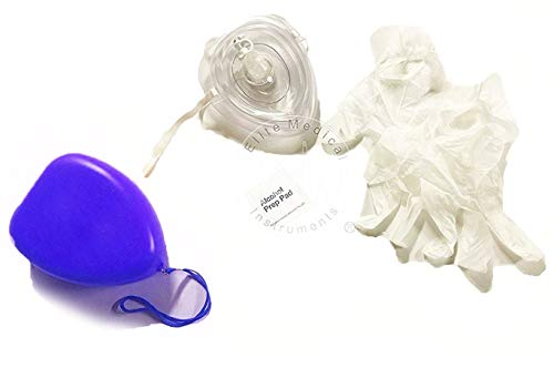 EMI CPR Rescue Mask Pocket Rescusitator, Gloves, Wipe, Blue Hard Case with Wrist Strap
