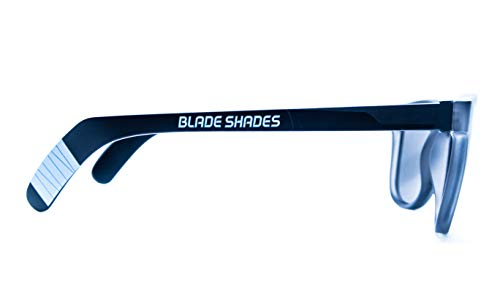 Original Blade Shades Hockey Stick Sport Sunglasses UV Protective (Grey/Smoke Frame, Chrome Mirror)
