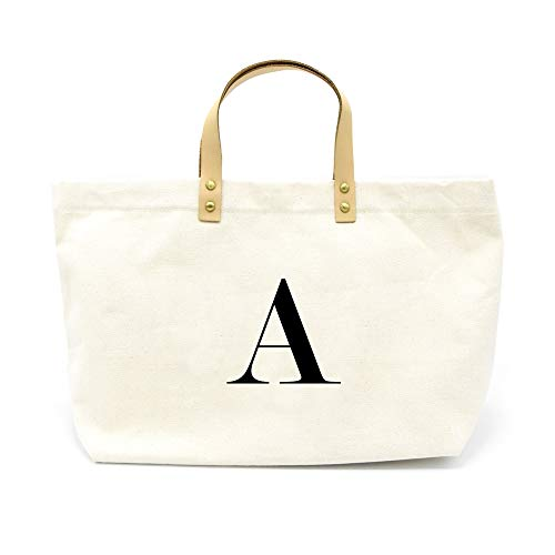 (PumPumpz Canvas Tote Bag, Natural Color and Classic A Monogrammed Bag. - Which arrive you within 5 days (A))