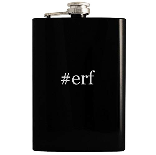 #erf - 8oz Hashtag Hip Drinking Alcohol Flask, Black