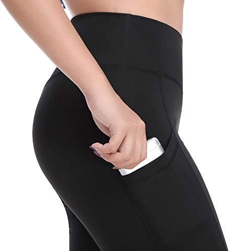FITTOO Women's Scrunch Butt Yoga Capris Leggings with Side Pockets Workout Pants Black ()