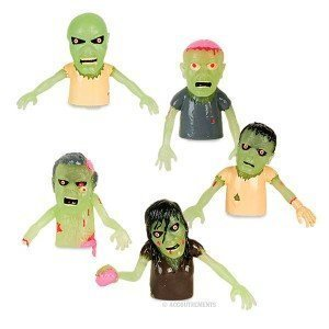 Set of 5 Glow in the Dark Zombie Finger Puppets Halloween -