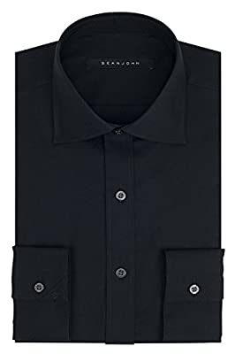 Sean John Men's Regular Fit Solid Spread Collar Dress Shirt