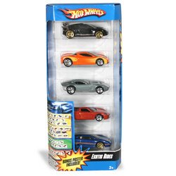 5 Car Gift Pack Hot Wheels Exotic Rides Toys Games