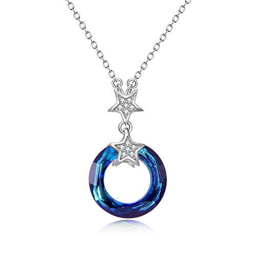 - AOBOCO 925 Sterling Silver Necklace with Swarovski Crystals Jewelry for Women Girl (Star Circle Necklace)