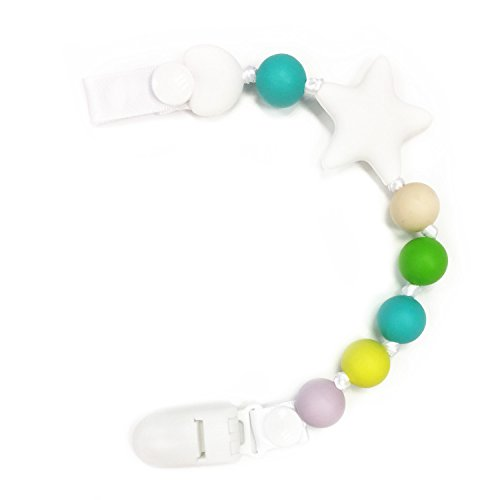 2 In 1 Unisex Baby Pacifier Clip and Higher Quality Silicone Teether Beads BPA Free Food Grade Soother Chain for Drooling and Teething Baby