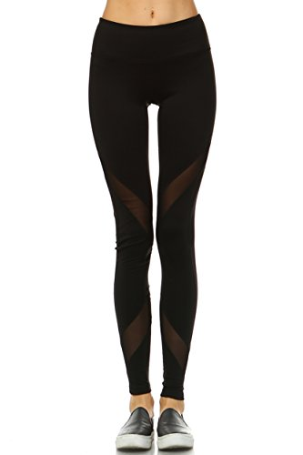 Mono B Women's Inflate Knit Athletic Leggings with a Sheer Mesh S Black