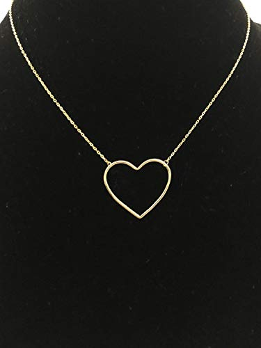 Large Open Heart Charm Necklace, Real Sterling Silver 925 (Gold)
