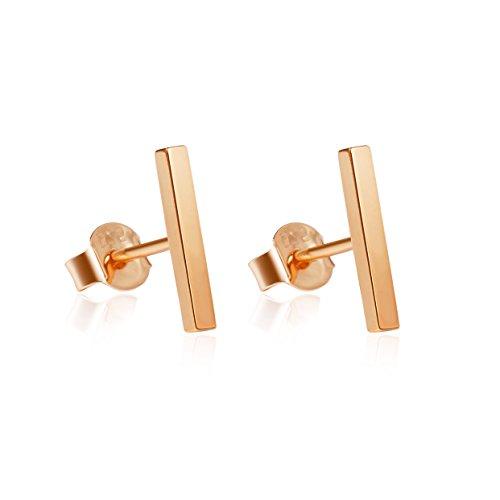 Solid Sterling Silver Stud - S.Leaf Minimalist Rose Gold Bar Earrings Studs Sterling Silver Flat Bar Stud Earrings Simplify Stick Earrings