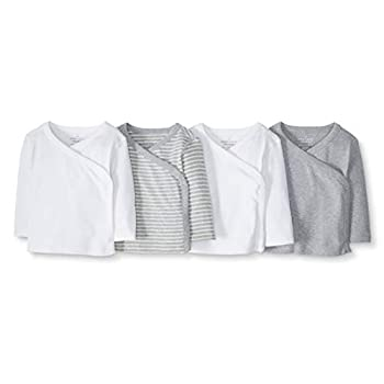 Moon and Back by Hanna Andersson Baby Boys' and Girls' 4-Pack Organic Cotton Long Sleeve Side Snap Shirt