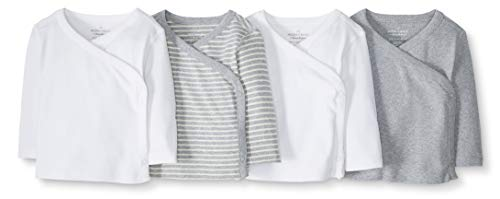 Moon and Back by Hanna Andersson Baby 4-Pack Organic Cotton Long Sleeve Side Snap Shirt, Gray, 6-12 months