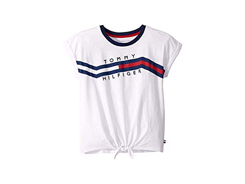 Tommy Hilfiger Big Girls' Short Sleeve Fashion Top, Winding White, L12/14 (Top Tommy Hilfiger)