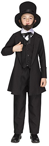 (Fun World Big Boy's Abe Lincoln American President Costume Childrens Costume, Multi,)