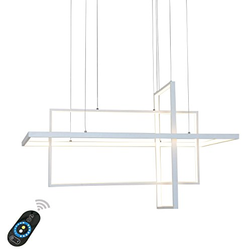 Pendant Design Lighting (Unitary Brand Modern White Acrylic Remote Control Nature White and Warm White Dimmable LED Geometric Modeling Design Pendant Lighting Max 90W Painted Finish)