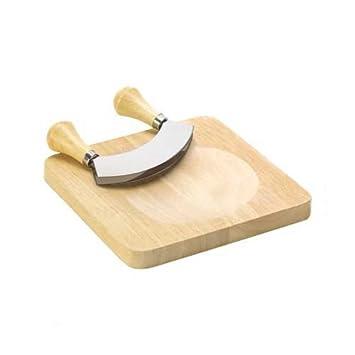 Cuchillo Mezzaluna con doble hoja acero inoxidable + tabla de madera para cortar