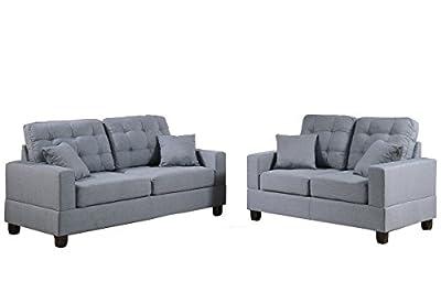 Poundex F7858 Bobkona Aria Linen-Like 2 Piece Sofa and Loveseat Set, Grey