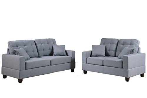 Poundex F7858 Bobkona Aria Linen-Like 2 Piece Sofa and Loves