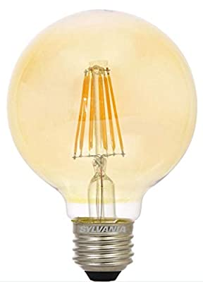 SYLVANIA 40126 Vintage LED Light Bulb, Efficient 4.5 Watts, G25, Amber Glass Edison Style, Warm White 2175K, Dimmable