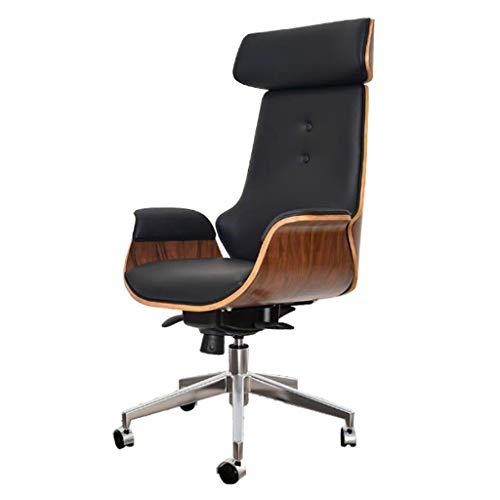 Silla de escritorio Mid Century para oficina en el hogar, silla giratoria ajustable moderna para computadora con reposacabezas, silla ejecutiva con respaldo alto con ruedas, madera curvada y cuero PU