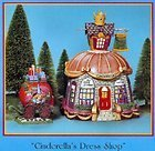 Department 56 Storybook Village CINDERELLA'S DRESS SHOP Handpainted Lighted Building and Accessories, Set of 2