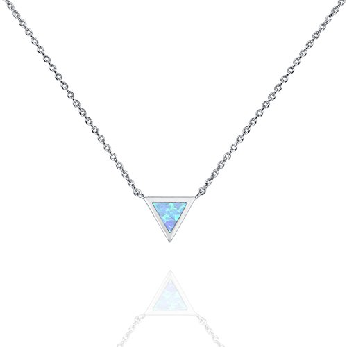 PAVOI 14K Gold Plated Triangle Bezel Set Blue Opal Necklace 16-18