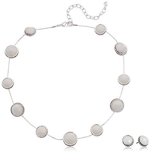 Napier Women's Silver/White Collar Necklace Stud Earring Set