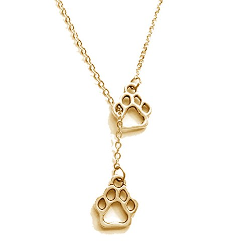 - WLL Simple Alloy Hollow Cat Claw Dog Claw Shape Pendant Necklace for Women Cute Animal Paw Prints Chain Statement Jewelry (Gold)