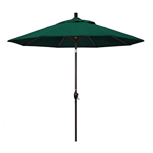 California Umbrella 9' Round Aluminum Market Umbrella, Crank Lift, Push Button Tilt, Bronze Pole, Sunbrella Forest Green ()