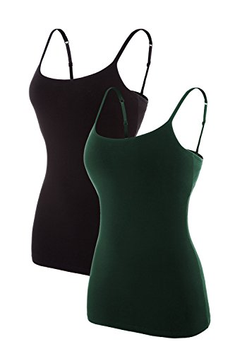 Women Junior Tanks Tops Cotton Cami Ladies Adjustable Spaghetti Strap Camisole,2 Pk Green / Black,Medium
