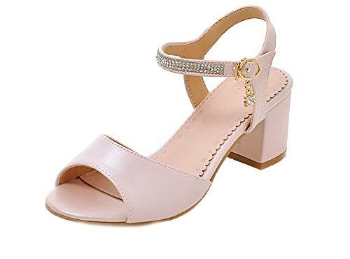 Sandales Ouverture à Correct AgooLar GMBLB014960 Couleur Unie Femme Rose Talon d'orteil nn8C1