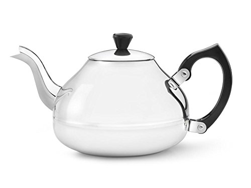 Teapot Glossy - bredemeijer Ceylon Single Walled Teapot, 1.25-Liter, Stainless Steel Glossy Finish with Black Accents