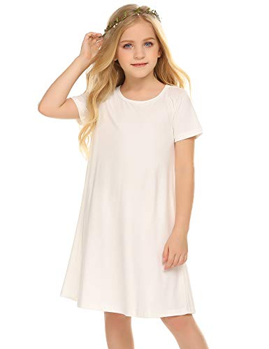 Girl's Summer Casual Dress Short Sleeve Cotton Swing Skater Twirly T-Shirt Dress -