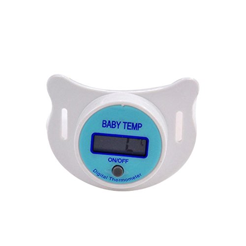 Thermometer For Babies - Baby Nipple Thermometer - KFT-20 Baby Infant Nipple Pacifier Mouth Thermometer Portable Baby Fahrenheit Thermometer Soother Soft - Blue (Portable Thermometer For Baby)