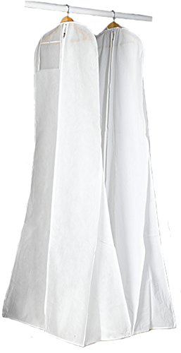 AliceHouse White New Breathable Wedding Gown Train Formal Dress Garment Bag with a Clear Pocket 69