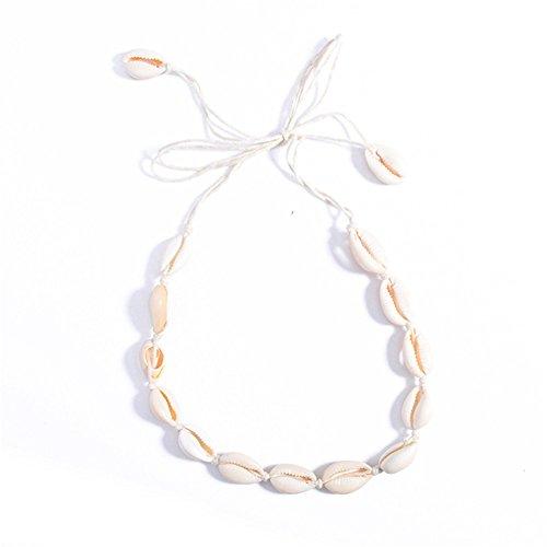 KeyZone Women White Velvet Rope Conch Shell Pendant Choker Necklace