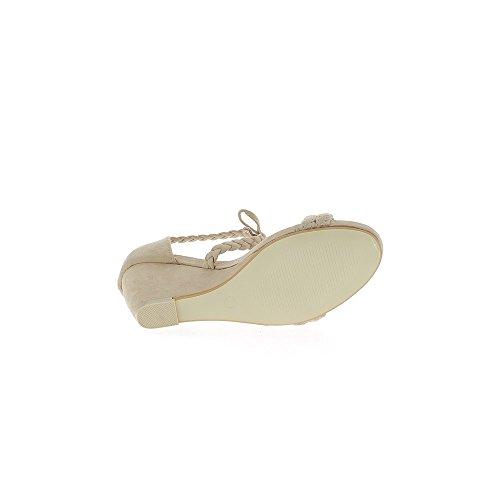 Beige de cuña sandalias tacón 8cm look ante cordones y rebordes de tejido