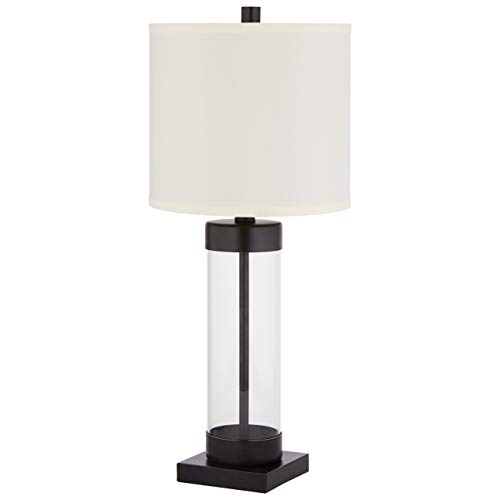 Stone & Beam Glass Column Living Room Table Desk Lamp With Light Bulb and Linen Shade - 10 x 10 x 23 Inches, Black