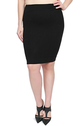 TheMogan Women's Stretch Ribbed Knit Sweater Midi Pencil Skirt Black 2XL
