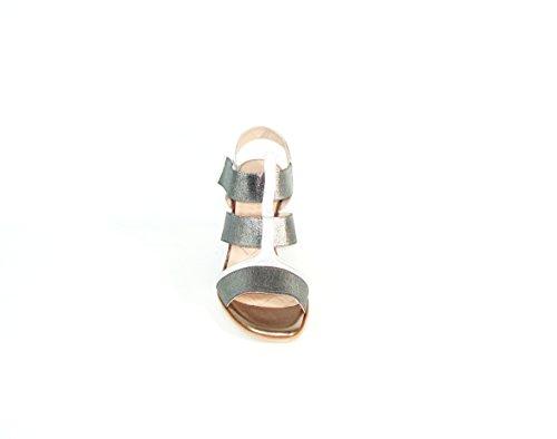 Hispanitas–Keil Sandale Streifen silber