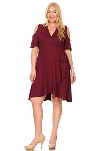 Wrap Shutter (Women's Plus Size Ruffle Asymmetrical Hem Faux Wrap A Line Flare Swing Dress - Wine - 1XL)