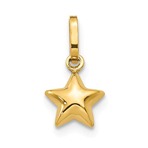 14K Yellow Gold Puffed Star Charm 13x6mm