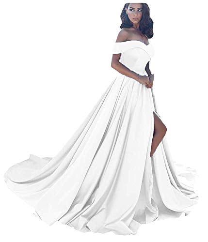 Homdor Split Off Shoulder Prom Evening Dress for Women A-Line Satin Formal Gown White Size 26