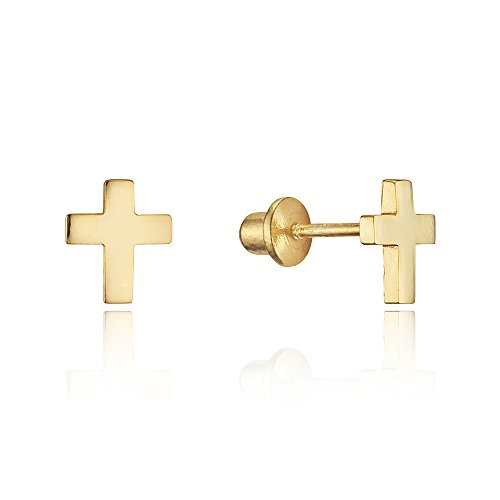14k Gold Plated Brass Plain Cross Screwback Baby Girls Earrings with Sterling Silver Post