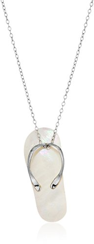 Sterling Silver Mother of Pearl Shell White Flip Flop Pendant Enhancer, 18