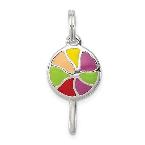 Lollipop Enameled - Sterling Silver Enameled Lollipop Charm