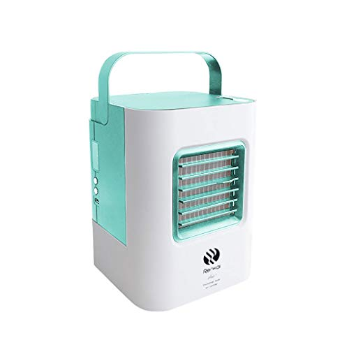 Portable USB Air Conditioner Fan, Personal Space Cooler,3-in-1 Misting Table Fan Small Evaporative Air Cooler, Humidifier, 3 Fan Speeds,Portable for Bedroom, Office, Outdoor, Travel (Green)