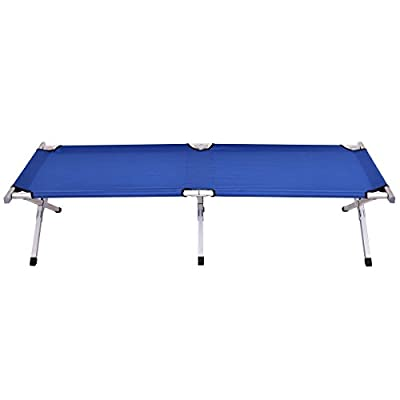 MD Group Foldable Portable Blue Hiking Camping Bed