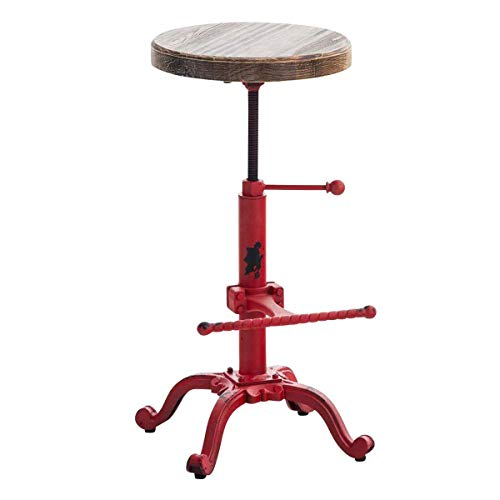 Topower Industrial Retro Vintage Farm Wooden Tractor Stool Kitchen Swivel Height Adjustable bar Stool (Antique Red) ()